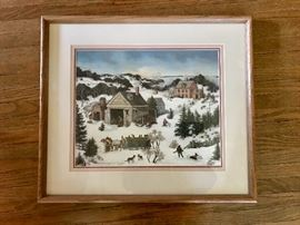 Linda Nelson Stock Print in wood frame - 1990 123/1500 Winter Scene.