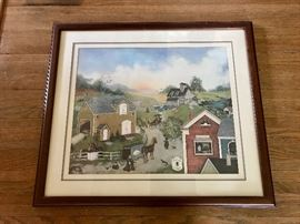 Linda Nelson Stocks 1989 print 687/1500 in wood frame - Adelaida's Antiques.