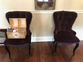 Pair of Pretty Plum Colored Upholstered Chairs with Decorative Chest
