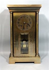 "Art Nouveau Art Deco Brass Mantle Clock, Hand Hammered Brass Front, Beveled Glass Window, Pfeilkreuz Junghans Movement, Includes Key, 9""W x 16""H"