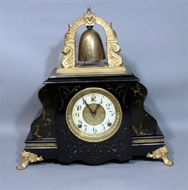 "1890 L Gilbert Clock Co 2200 Curfew Striking Bell Top Mantle Clock, Includes Key and Pendulum 17""W x 18""H"