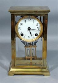 "American Ansonia Dorval Brass Clock with Crystal Regulator and Beveled Glass, Includes Key, 5.25""W x 8.75""H"