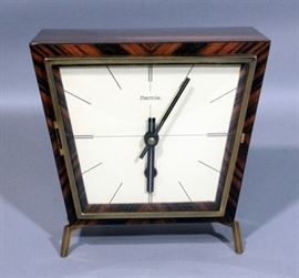 "Hermle German Mid Century Eames Era Mantle Clock, Wood and Brass, Includes Key, 7.5""W x 7.1""H"