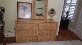 Wicker Chest, Mirror, Vanity Mirror & Artwork. Nice for smaller space