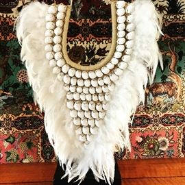 Snow white tribal feather and shell necklace. $175