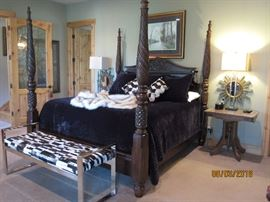 King size Frame, includes Box Spring and Luxury Mattress. Mahogany. $2,000