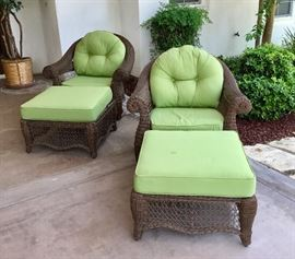 Frontgate swivel and rocking deep seat chairs plus ottomans