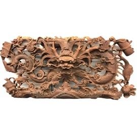 Asian Carved Hardwood Dragon Plaque PC1A