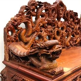 Asian Carved Hardwood Dragon Decorated Settee PC1A