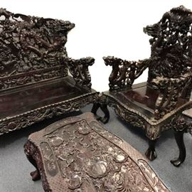 Suite of Asian Hardwood Dragon Decorated Furniture PC1A
