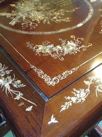 Chippendale Style dining table and chairs. Hnad-crafted in Japan with Rosewood and hand-inlaid Mother of Pearl in a nature motif.