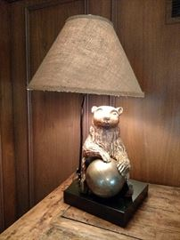 Carved wooden bear lamp