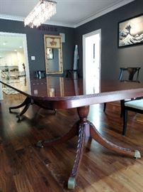 Antique English mahogany  double pedestal dining table