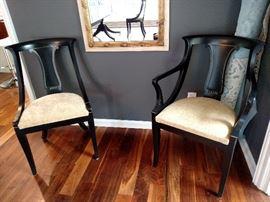 Baker Furniture Co. dining room chairs, originally pecan wood painted black and trimmed in gold