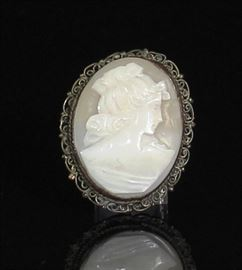 Sterling Silver Cameo Pin  9.6 Grams 39 X 31 MM.