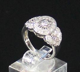 18K White Gold Antique Reproduction .32 ctw-30-.01 Full Cut Diamonds and 1-.02 Full Cut Diamond SI.G 6.4 Grams Ring Size 6 3/4. LR9