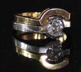 Two Ring Matching Settings Platinum And Rose Gold  Ladies Platinum .74ct  Brilliant Cut Diamond SI2G 7.2 Grams Ring Size 7 With Matching 14 K Rose Gold Band 4.4 Grams Ring Size 7 LR4.