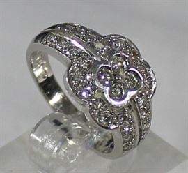 Ladies 14 K White Gold And Diamond Ring:  Size 6 3/4 5.0 Grams, 4 Diamonds In Center .24 ctw, And 24 Diamonds ctw SI2G . LR7