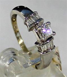 Lot 122:  Ladies 14K White Gold And Diamond Ring:   4.7 Grams Ring Size 6, .36 ct Princess Cut Diamonds-.30 ctw Baquette Diamonds As Side Stones. LR11