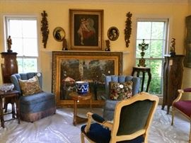 Gorgeous Signed Oil on Canvas, Antique Wedgwood Planter, Aubusson French pillows, Aubusson needlepoint chair, Baker side table, Antique Inlaid Marble Top Pedestals with Bronze mountings, upholstered fringe chairs, Antique Borghese Terracotta sculptures, Signed oval convex antique portraits on wood, 19th century bronze mermaid candelabra, Baker side table, Rosewood carved stand with marble top, cut crystal bowl
