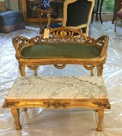 Louis XVI French hand carved gold gilt settee, Louis XVI gold gilt and marble bench / low table