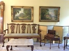 Antique Chippendale three seater settee in Mahogany, Oil on Canvas paintings by George F. Schultz, Antique traveling liquor box, Antique mahogany table with glass top,  Antique Japanese silk screen, handmade grandmother clock, Antique Mahogany Bench