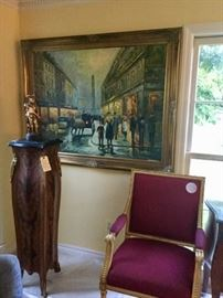 Oil on Canvas, Antique Louis XVI French Arm Chairs, Inlaid marble top pedistals with bronze mountings