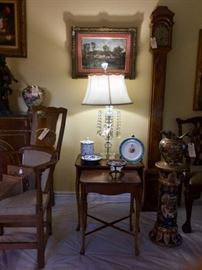 Brandt tables, Minton Cabinet plate, Japanese pottery, Antique prisim lamp, Antique oil on canvas, hand made grandmother clock, Satsuma  pitcher and stand