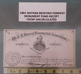1891 Nathan Bedford Forrest Monument Fund Receipt