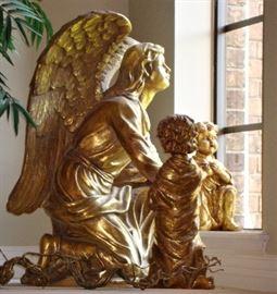 """LARGE"" KNEELING ANGEL WITH CHILDREN - VERY DELIGHTFUL"