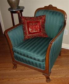 ANTIQUE FOOTED CHAIR, RE-UPHOLSTERED