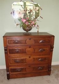 """""""SWEET"""" ANTIQUE CHEST OF DRAWERS WITH ACORN PULLS, HAS ORIGINAL CASTERS"""