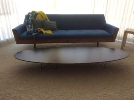 Adrian Pearsall style sofa, Eames for Herman Miller, signed, elliptical coffee table