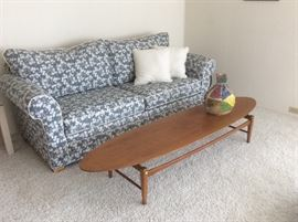 Sleeper sofa, surfboard coffee table