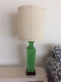 Green pottery lamp