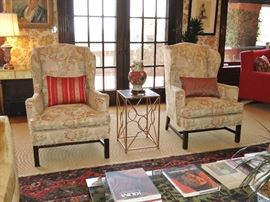 Pair of English Wingback Armchairs