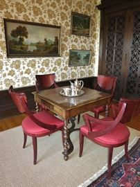 Leather Top Game Table w/ Four Regency-Style Side Chairs (two more avail)