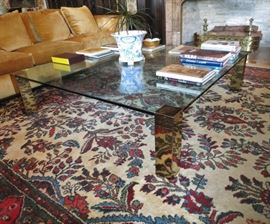 Enormous Plate-Glass Mid-Century Coffee Table on  Palace-Size Persian Rug