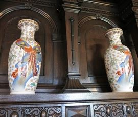 Fine Pair of Peacock Vases