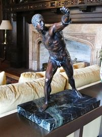 Powerful Bronze of an Athlete on a Marble Base