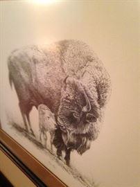 """""""New Hope"""" Buffalo and calf art (1978) by Dan Andrews"""