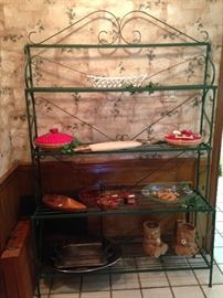 Green baker's rack filled with kitchen treasures
