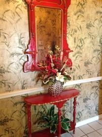 Red (trimmed in gold) entry table and matching mirror