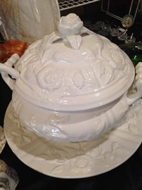 White (rose topped) tureen and under plate