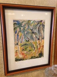 Palm tree scene framed watercolor art