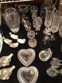 Vases, stemware, heart boxes, etc.