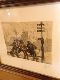 A color etching on paper of a street scene by M. Haranz.