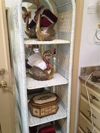 Swan towel holders; white wicker etagere