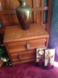 Matching nightstand; large vase