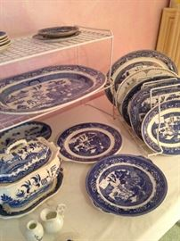 Blue & white tureen, plates, and platters
